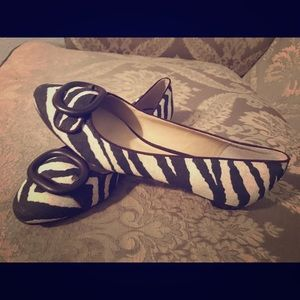 BROWN AND WHITE STRIPED TALBOTS FLATS